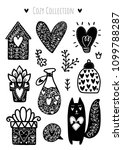 scandinavian doodles elements.... | Shutterstock .eps vector #1099788287