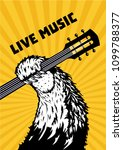 live music. animal paw with... | Shutterstock .eps vector #1099788377