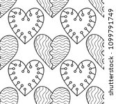 hearts. black and white... | Shutterstock .eps vector #1099791749