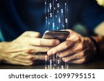close up of a man using mobile... | Shutterstock . vector #1099795151