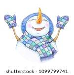 happy snowman cartoon  ... | Shutterstock . vector #1099799741
