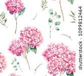 watercolor pink hydrangea... | Shutterstock . vector #1099812464