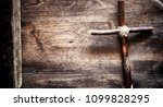 religious old book on a wooden...   Shutterstock . vector #1099828295