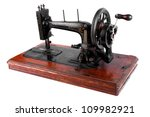 The Old Sewing Machine On Whit...