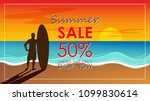 silhouette of surf man stand... | Shutterstock .eps vector #1099830614