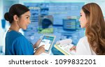 two female doctors work...   Shutterstock . vector #1099832201