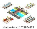 isometric modern trains concept ... | Shutterstock .eps vector #1099836929