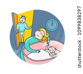 mother puts the baby to bed.... | Shutterstock .eps vector #1099838297
