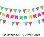 banner with garland of colour...   Shutterstock .eps vector #1099842005