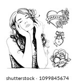 graphic tattoo sketches with... | Shutterstock .eps vector #1099845674