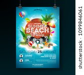 vector summer beach party flyer ... | Shutterstock .eps vector #1099846061