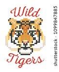 pixel tiger. tiger t shirt... | Shutterstock .eps vector #1099847885
