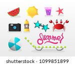 icons set for summer vector...   Shutterstock .eps vector #1099851899