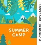 summer camp  children vacation  ... | Shutterstock .eps vector #1099852097