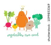 vegetables are cool cute...   Shutterstock .eps vector #1099853369