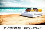 summer photo of desk with... | Shutterstock . vector #1099859624