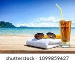 summer photo of desk with... | Shutterstock . vector #1099859627
