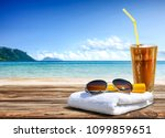 summer photo of desk with... | Shutterstock . vector #1099859651
