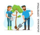 couple of gardeners  farmers... | Shutterstock .eps vector #1099879964