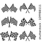 Checkered flags set for racing and autosport design, such a logo. Jpeg version also available in gallery - stock vector
