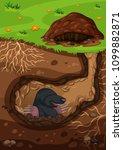 underground mole in a tunnel... | Shutterstock .eps vector #1099882871