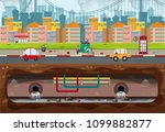big modern city pollution scene ... | Shutterstock .eps vector #1099882877