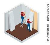 isometric man installing... | Shutterstock .eps vector #1099884701