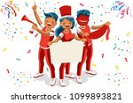 cheering crowd of football fans ... | Shutterstock . vector #1099893821