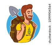 tourist with a backpack  shovel.... | Shutterstock .eps vector #1099904564