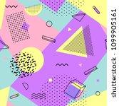 memphis seamless pattern... | Shutterstock .eps vector #1099905161