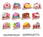 candies and sweets colorful... | Shutterstock .eps vector #1099910771