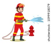 happy female firefighter... | Shutterstock .eps vector #1099918079