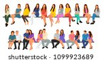 people without faces sitting ... | Shutterstock .eps vector #1099923689