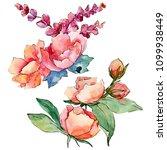 pink bouquet wildflower. floral ...   Shutterstock . vector #1099938449