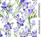 purple freesia. seamless... | Shutterstock . vector #1099940651