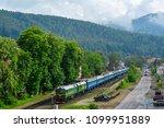 diesel train at the railway... | Shutterstock . vector #1099951889