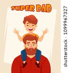happy fathers day greeting card ... | Shutterstock .eps vector #1099967327