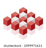 abstract cube vector shape... | Shutterstock .eps vector #1099971611