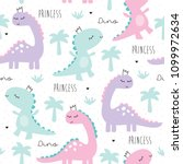 Stock vector seamless princess dinosaur animal pattern vector illustration 1099972634
