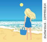 woman on a beach  young female... | Shutterstock .eps vector #1099981814