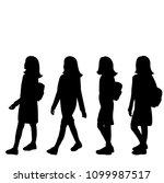 silhouette girl  set | Shutterstock .eps vector #1099987517