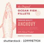 premium quality fish fillets.... | Shutterstock .eps vector #1099987934