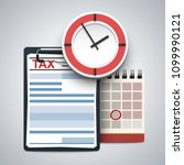clipboard with tax form  wall... | Shutterstock .eps vector #1099990121