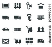 black vector icon set truck... | Shutterstock .eps vector #1099990394