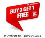 buy 3 get 1 free sale banner red | Shutterstock .eps vector #1099991381
