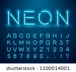 set of letters in neon style.... | Shutterstock .eps vector #1100014001