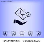 mail envelope on the hand  mail.... | Shutterstock .eps vector #1100015627