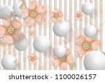 3d wallpaper design with floral ...   Shutterstock . vector #1100026157