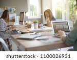 businesswomen working in co... | Shutterstock . vector #1100026931