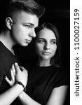 the lovely couple in love... | Shutterstock . vector #1100027159